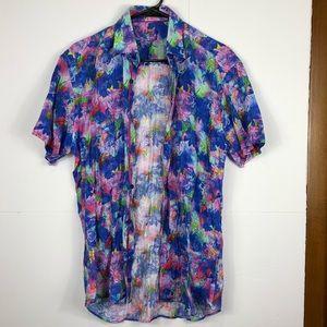 Nordstrom's Bertigo 100% linen floral shirt Sz M
